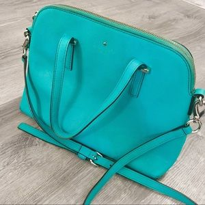 KATE SPADE TURQUOISE LEATHER PURSE WITH STRAP